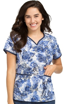 Peaches Uniforms Women's Natasha Notch Neck Butterfly Print Scrub Top