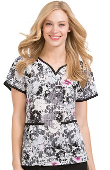 Peaches Uniforms Women's Natasha Notch Neck Floral Print Scrub Top