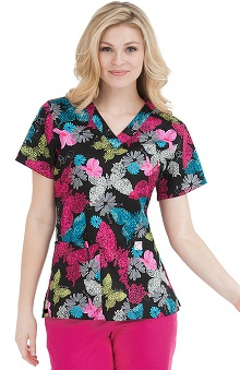 Scrubs new: Life Is Peachy by Peaches Women's Paula V-Neck Print Top