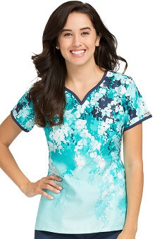 Peaches Uniforms Women's Notch Neck Floral Print Scrub Top