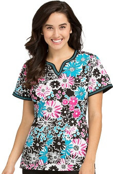 Clearance Peaches Uniforms Women's Ella Notch Neck Floral Print Scrub Top