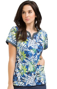 Clearance Peaches Uniforms Women's Ella Notch Neck Leaves Print Scrub Top