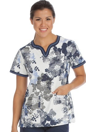Med Couture Women's Ella Notch Neck Floral Print Scrub Top