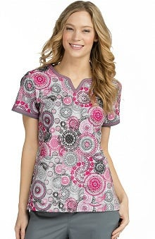 Med Couture Women's Ella Notch Neck Geometric Print Scrub Top