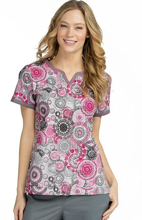 Clearance Med Couture Women's Ella Notch Neck Geometric Print Scrub Top