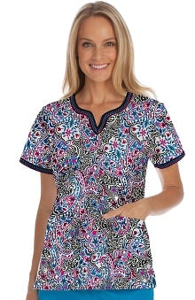 Med Couture Women's Ella Notch Neck Paisley Print Scrub Top