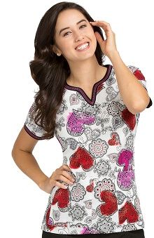 Peaches Uniforms Women's Ella Notch Neck Heart Print Scrub Top