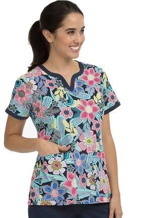 Med Couture Women's Ella Notch Neck Floral Print Scrub Top