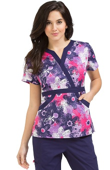 Clearance Life Is Peachy by Peaches Women's Madi Mock Wrap Floral Print Scrub Top