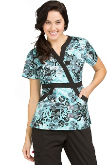 Clearance Life Is Peachy by Peaches Women's Madi Mock Wrap Mosaic Print Scrub Top