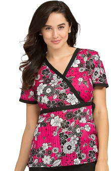 Clearance Peaches Uniforms Women's Mock Wrap Floral Print Scrub Top