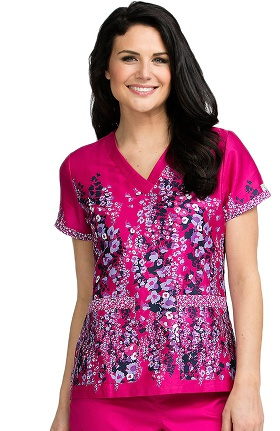 Clearance Med Couture Women's Valerie Floral Print Scrub Top