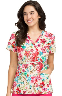 Vivi by Med Couture Women's Mock Wrap Floral Print Scrub Top