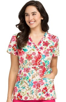 Clearance Vivi by Med Couture Women's Mock Wrap Floral Print Scrub Top