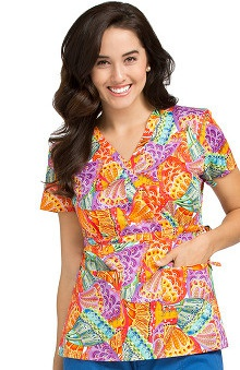 Vivi by Med Couture Women's Mock Wrap Butterfly Print Scrub Top