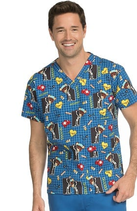 Med Couture Unisex V-Neck X-Ray Bear Print Scrub Top