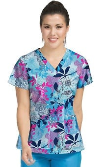Med Couture Women's Valerie V-Neck Floral Print Scrub Top