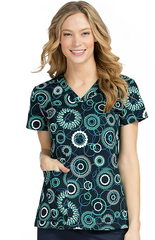 Peaches Uniforms Women's Valerie V-Neck Geometric Print Scrub Top
