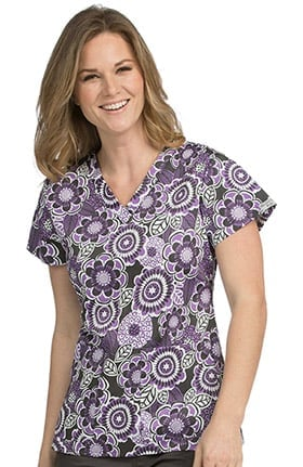 Peaches Uniforms Women's Valerie V-Neck Floral Print Scrub Top