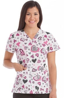 Peaches Uniforms Women's Valerie V-Neck Heart Print Scrub Top