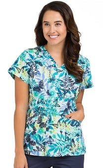 Clearance Med Couture Women's Valerie Tropical Butterfly Print Scrub Top