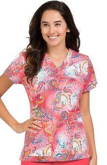 Med Couture Women's Valerie Paisley Print Scrub Top