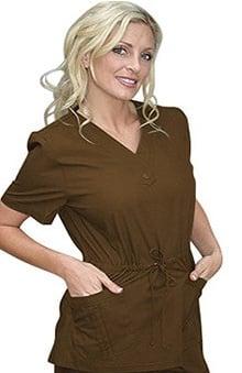 clearance750: Peaches Uniforms Women's Katherine Heigl Stylized V-Neck Drawstring Solid Scrub Top