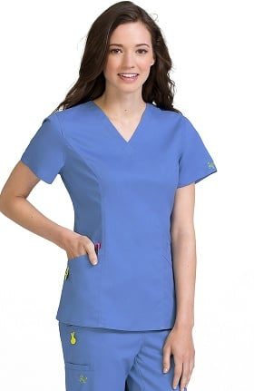 Vivi by Med Couture Women's Ivy V-Neck Princess Seam Solid Scrub Top