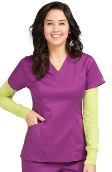 Clearance Vivi by Med Couture Women's Ivy V-Neck Princess Seam Scrub Top
