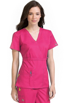 Vivi by Med Couture Women's Mia Mock Wrap with Tie Scrub Top