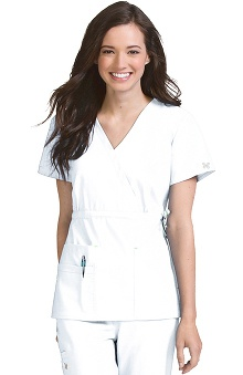 Clearance Vivi by Med Couture Women's Mia Mock Wrap with Tie Scrub Top