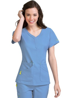 Vivi by Med Couture Women's Joy Henley Neckline Scrub Top