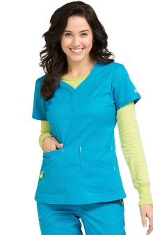 Clearance Vivi by Med Couture Women's Joy Henley Neckline Scrub Top