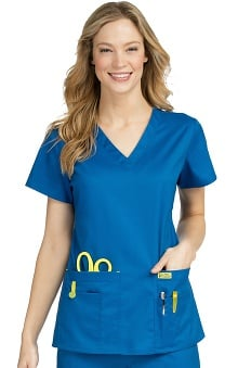 Vivi by Med Couture Women's Alice V-Neck Solid Stretch Scrub Top