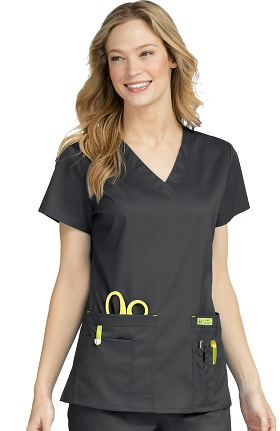 Clearance Vivi by Med Couture Women's Alice V-Neck Solid Scrub Top