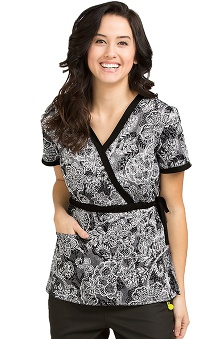 Clearance Vivi by Med Couture Women's Mia Mock Wrap Tie Floral Print Scrub Top