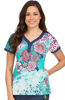 Clearance Vivi by Peaches Women's Joy Henley Neckline Print Scrub Top