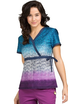 Clearance Vivi by Med Couture Women's Mock Wrap Abstract Print Scrub Top
