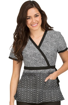 Clearance Vivi by Med Couture Women's Mock Wrap Print Scrub Top