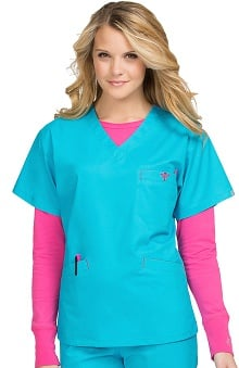 Med Couture Women's Classic Signature V-Neck Solid Scrub Top