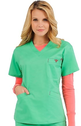 Clearance Med Couture Women's Classic Signature V-Neck Solid Scrub Top