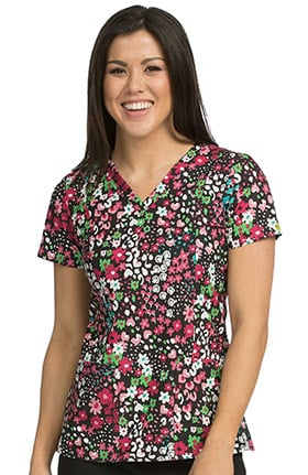 Activate by Med Couture Women's In Motion Floral Print Scrub Top
