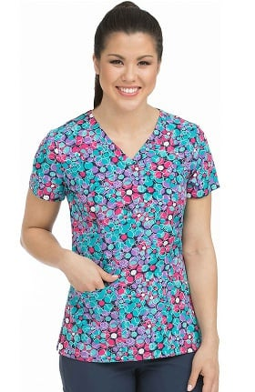 Activate by Med Couture Women's In Motion Geometric Print Scrub Top