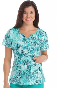 Med Couture Women's Chrissy Mock Wrap Butterfly Print Scrub Top