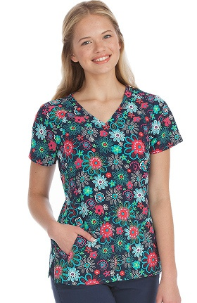 Activate by Med Couture Women's Refined V-Neck Floral Print Scrub Top