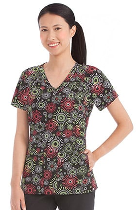 Activate by Med Couture Women's 2 Way Stretch Geometric Print Scrub Top