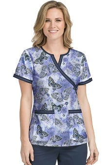 Med Couture Women's Chrissy Butterfly Print Scrub Top