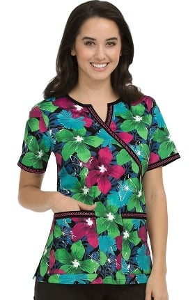 Clearance Med Couture Women's Chrissy Butterfly Print Scrub Top