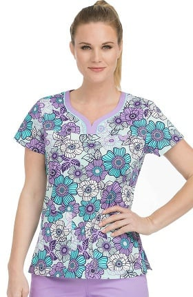 Clearance MC2 by Med Couture Women's Lexi Sport Neckline Floral Print Scrub Top
