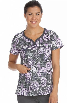 MC2 by Med Couture Women's Lexi Notch Neck Floral Print Scrub Top